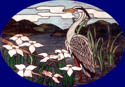 Heron with dogwood