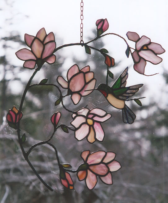 Magnolia with hummingbird